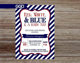 Red White and Blue Baby Shower Invitation, 4th of July baby shower, patriotic baby shower invitation, summer baby shower invitation