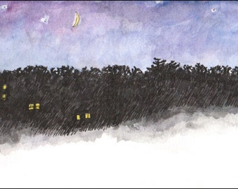 Night sky homes yellow moon, scenic landscape print, approx 4.5x 11 night sky decor Home & Living America color, digital print, gift idea
