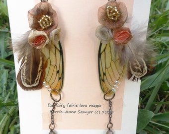 fairie fairy wing and feather  earrings