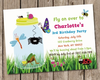 Bugs Jar Birthday Invitation Digital Printable PDF template, instant download, Edit with Adobe Reader DIY, insects, bee butterfly spider