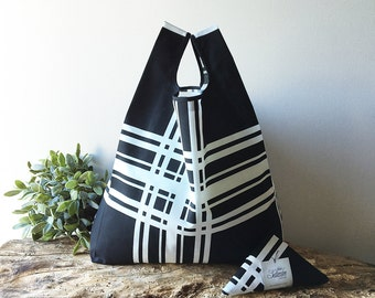 men lunch bag made with black and white striped fabric / unisex market bag / capacious grocery bag / gift for mentor / doggy bag
