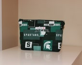 Large Waterproof Zipper Pouch - Wet Bag - Michigan State Green White Spartans - Bathing Suit Bag Beach Swim Pool