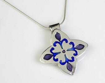 Fleur Flowers Enameled Pendant