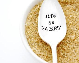 Life Is Sweet. Sugar Spoon. Stamped Silverware to indulge a sweet tooth, by Milk & Honey.