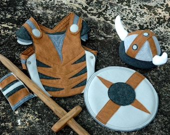 Viking Costume Gift Set - GREY and BROWN -  Kid Costume, Adventure Gear