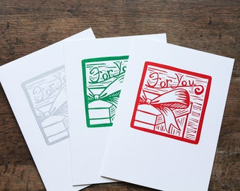 For You Christmas Holiday Cards, Present Gift, Linocut Block Print, Red Green or Silver, Handmade