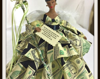 Black Angel Tree Topper, Mother's Day Gift Angel, African American Inspirational Porcelain Doll, Money Gown, Prosperity Inspiration Doll