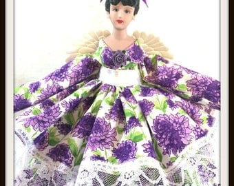 Angel, Purple Angel Doll, Gift for Mother's Day, Dark Haired Angel Tree Topper, Porcelain OOAK Purple Room Decor Accent