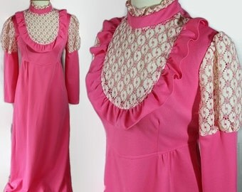 40%OFFSALE 1970s Pink Prom Queen Juliet Sleeves Lace