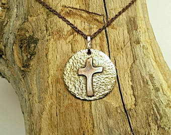 """Pendent P-100, 1-1/4 Diameter Copper and Brass Hammered and Etched Texture Antiqued Bronze Rope Chain 19"""". One of a Kind and Ready to Ship."""