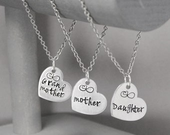 Generation Necklace Set, Mother Necklace, Daughter Necklace, Grandma Necklace, Hand Stamped Jewelry, Personalized Jewelry, Gift for Mom