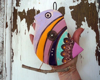 Large Bird Wall Decor, Steampunk Bird Wall Hanging, Handmade Ceramic Bird Wall Decor, Bird Lover Gift, One Of A Kind Colorful Bird