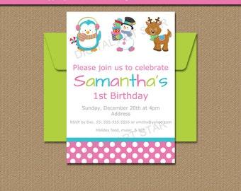 Christmas Printable Invitations, Instant Download Holiday Printable Invitations, Kids Christmas Party Invites, Penguin Snowman Reindeer C1