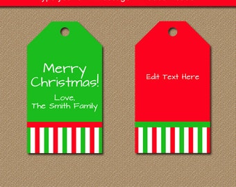 Christmas Tags - PRINTABLE Christmas Tags - Christmas Gift Tags - Christmas Hang Tags - Holiday Gift Tags - Christmas Favor Tag Download CSV