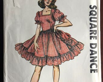 """1970's Authentic Square Dance Dress and Shawl pattern - Bust 34-38"""" - UC/FF - No. 275"""