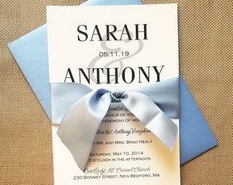 Classic Modern Wedding Invitation Suite - Black and White with Blue Ribbon