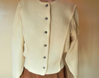 Andre Jovine Vintage Cardigan Nordic Sweater Scandinavian Norwegian Ski style Size Small Excellent Condition
