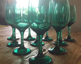 Set of 10 Emerald Green Wine Glasses / Green Glass / Wine Glasses