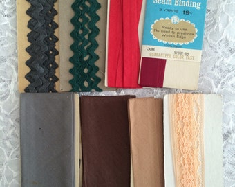 Seam Binding and Ric Rac Lot, Vintage Seam Binding Bias Tape Scraps for Altered Art, Mixed Media and Sewing Crafts