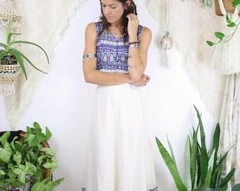 70s Bohemian Maxi Skirt, Raw cotton Blue floral Peasant Prairie Festival Hippie Boho Long skirt, Medium 4139