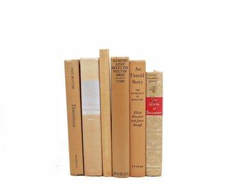 Tangerine BOoks,  Apricot Decorative Books, Orange Brown  Antique Book  Set, Wedding Decoration, Old Book Collection, Home Decor, brown book