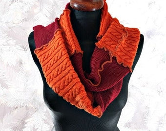 Upcycled Sweater Scarf, Striped Scarf, Upcycled Clothing, Boho Scarf, OOAK Long Scarf, Winter Scarf, Orange and Red Scarf, Gift for Her