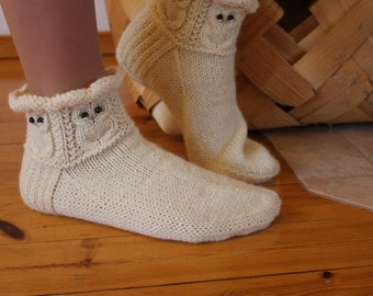 Snow owls -Socks/slippers Womens Mens Warm cosy wool socks natural white Handknitted Gift idea Winter Home relax warm Handmade in Finland