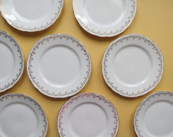 Antique Dinner Plates Set // Elegant Gold Floral Pattern Trim K. T. & K. Co. Set of 8 China Plates Rustic Wedding Decor Victorian Kitchen