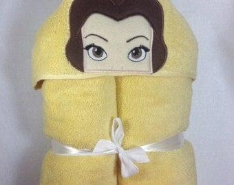 Belle Hooded Bath Towel,  Princess Belle, Hooded Kids Towel, Beauty and the Beast, Princess, Kids Towel, Belle, Princess Towel, Girly Girl