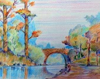 Wicklow bridge Ireland print of a coloured pencil drawing by John Menage size A3 or A4