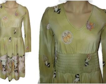 Vintage 1970s Dress Nylon Geisha Print Dress Japanese Ruching 70s Deco Japan Border Print Disco G 2 G Small