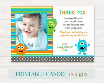 Monster Thank you, Monster Party Thank you, Little Monster Thank you, Monster 1st Birthday, Photo thank you card, Printable DIY