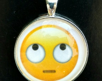 Rolling Eyes Emoji Keychain-Rolling Eyes Emoji Necklace-Key Ring- Emoji Charm-Emoji Pendant-Emoji Purse Charm