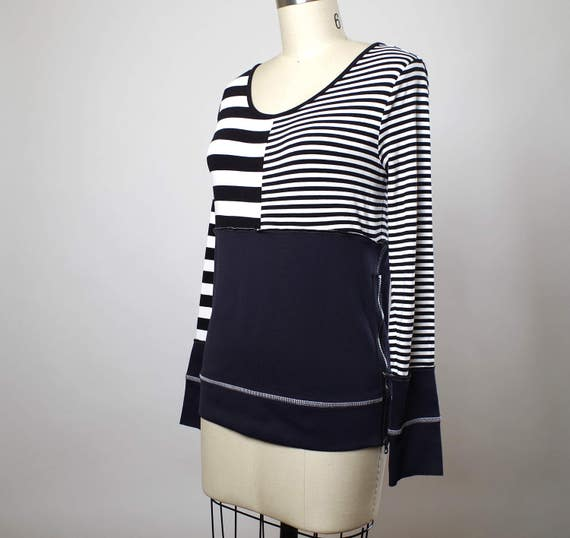 Striped Spring Top - Black and White Top - Striped Blouse - Casual Top - Eco-friendly Clothing