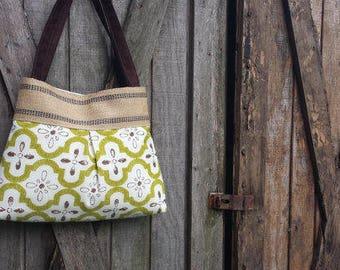 Green and Brown Floral Handbag Purse Tote Bag with Jute Webbing