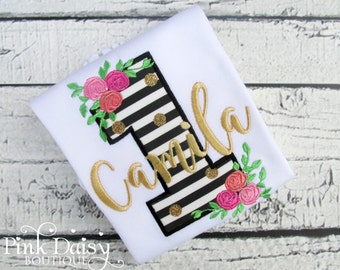Girls Birthday Shirt - Black Pink Gold - Black Stripes - Floral - Roses - Flowers - Stripes and Dots - Black & White - First Birthday Shirt