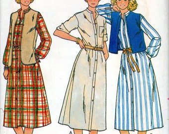 "1980s Women's Dress with Band Collar and Vest Pattern - Size 12 Bust 34"" - Butterick 6343"
