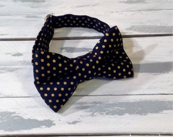 Black and Gold Polka Dot Bow Tie - Infant Baby Toddler Boys Mens Bowtie- Glitz Bow Tie - Photo Prop - Wedding Tie- Ring Bearer Tie