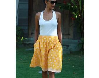 Yellow and White Skirt with Pockets / Floral Midi Skirt / Summer Skirt /  Javanese Batik Skirt / OOAK