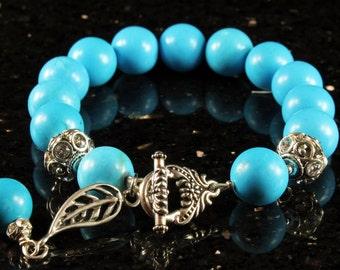 Turquoise Bracelet, Antique Silver, Swarovski elements, statement bracelet, blue gemstone, chunky, fashion, gift for her, holiday gift,R2728