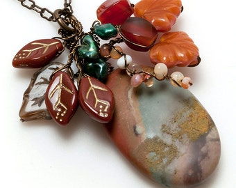 Green and Brown Jasper Pendant Necklace