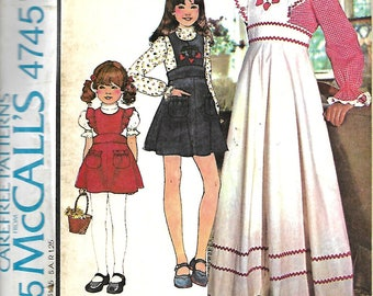 VTG McCall's 4745 Girls Pinafore-Jumper And Blouse Sewing Pattern, Size 5 UNCUT