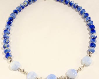 Sapphire Blue Necklace Baby Blue Necklace Blue Jewelry Agate necklace Gemstone Jewelry Beaded Necklace Ladies Gift Blue Silver Necklace