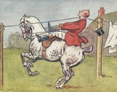Personal Foul - Antique 1900s Artist-signed Foxhunt Equestrian Comic Postcard