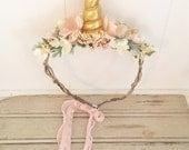 Unicorn Headband-Unicorn Flower Crown- unicorn party- girls birthday headband- Flower Crown- Unicorn