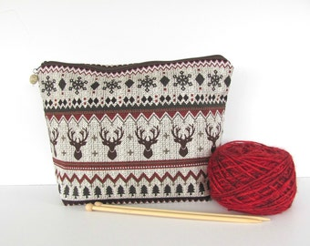 Wedge Knitting bag wide mouth Crochet Project Bag, Zippered wedge in 2 sizes - Norwegian Stag
