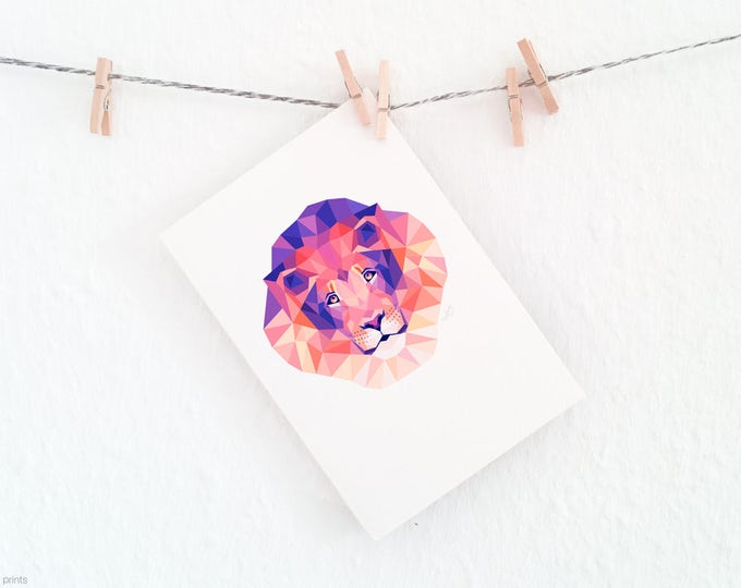 Lion portrait, African animal art, Savannah wildlife, Geometric lion face, Modern animal art, Contemporary animal art, Pink and purple print