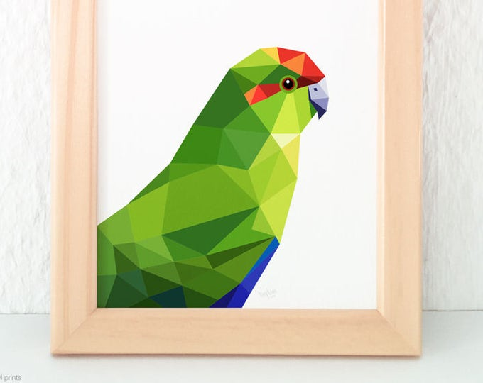 New Zealand bird, Kakariki green parrot, Parakeet pair, Minimal bird art, Geometric parrot, A2 wall art, Large art, Art made in NZ, tinykiwi