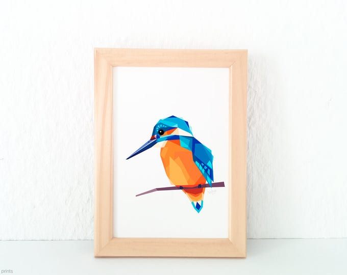 Kingfisher art, European birds, Orange and blue print, Geometric kingfisher, Kingfisher polygon animal art, Contemporary art, tinykiwi art