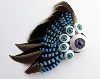 Doll Eye and Jay Feather Wing Fascinator, unique and unusual, alternative wedding accessory